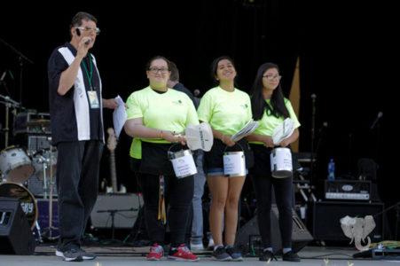 volunteers on stage