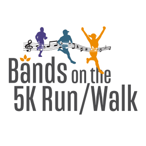 Bands on the 5K Run logo in square space