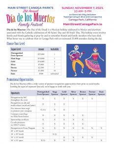 Dia de los Muertos sponsor sheet thumbnail